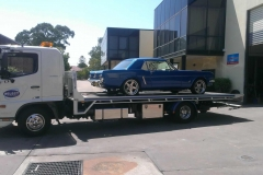 Blue automobile car transport