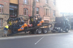 Tow Truck Transport of Forklifts