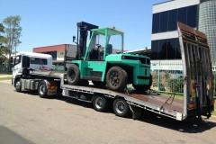 Green Industrial Forklift Transport