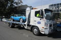 Classic blue car transport in Sydney