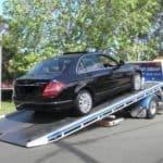Black car towing