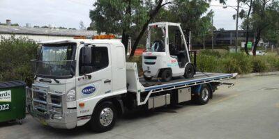 White forklift transport