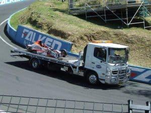 race car towing